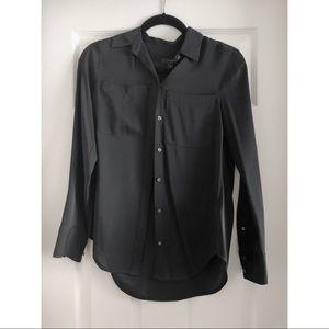 J Crew Black Button Down Blouse Size00 NEW!